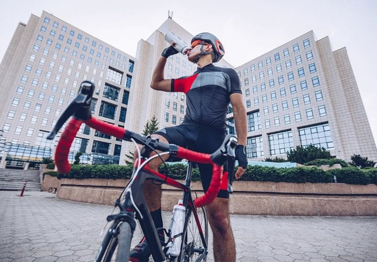 Athlete on racing bike